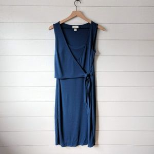 LOFT Blue Wrap Top Sleeveless Tie Midi Dress 8